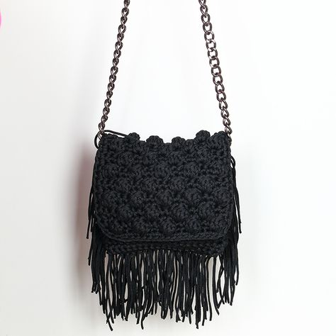 Handmade crochet flap bag