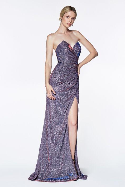 Cinderella Divine KC872 Evening Dress Prom Dress Off the shoulder metallic gown
