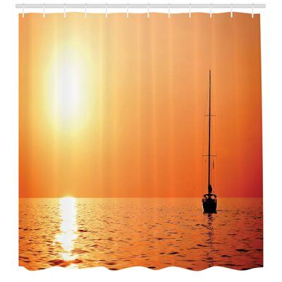 East Urban Home Ambesonne Sailboat Shower Curtain Lonely Yacht At