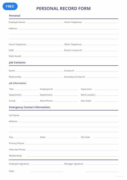 Free Personnel Record Form Templates Records Ms Word