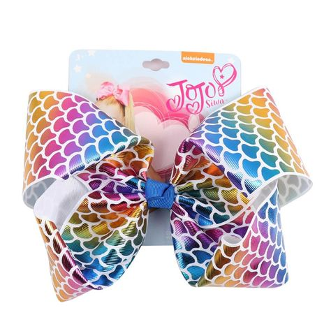 JOJO siwa Mermaid Hair Bows With Clips For Kids Girl Boutique Printed Metallic Leather Hair Bows Hairgrips Hair Accessories