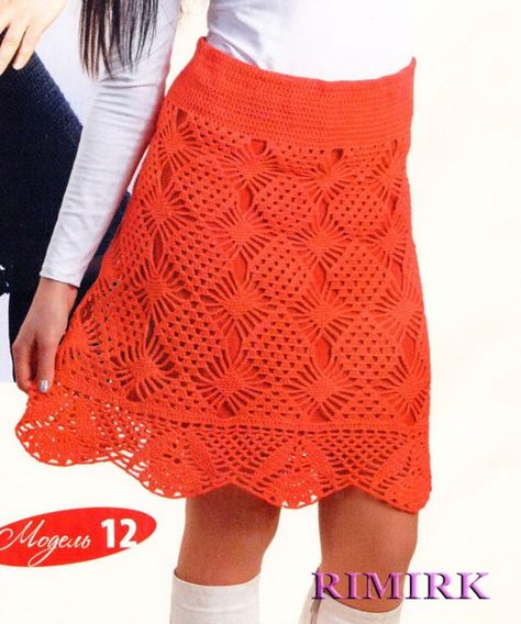 Red crochet skirt ♥LCS♥ with diagram