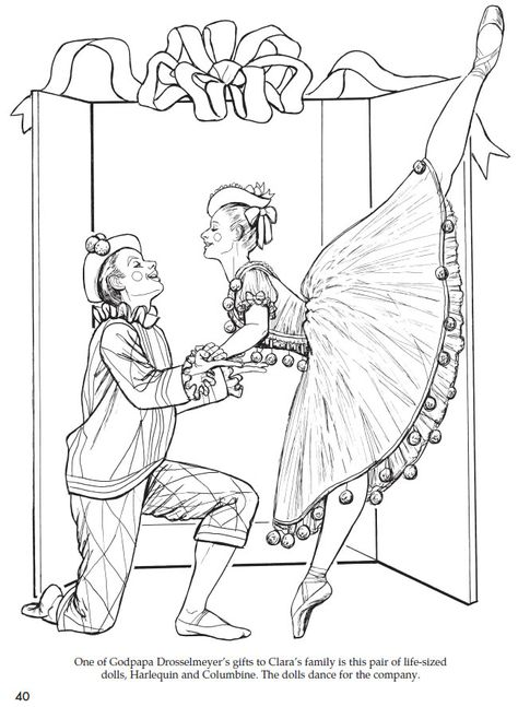 """Christmas """"Nutcracker"""" Harlequin and lovely Columbine Coloring Page; From the """"Giant Christmas Coloring and Activity Book"""". More great examples and activities provided at: The amazing publisher Dover Publications"""
