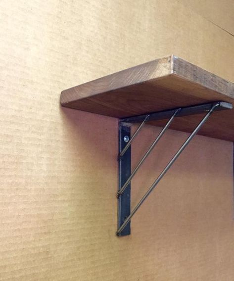 4 12 Industrial Shelf Bracket Wooden Shelf by MetalAndWoodDesign
