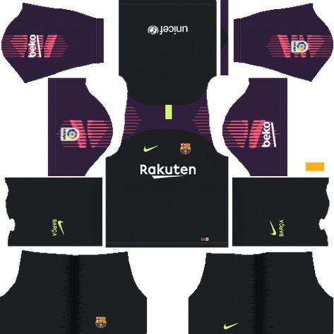 Dream League Soccer Kits Barcelona 2018 19 Kit 512x512 Url Goalkeeper Soccer Kits Goalkeeper Kits Barcelona Football Kit