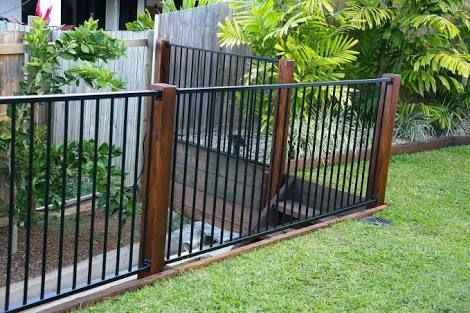 Image Result For Black Pool Fence With Timber Posts Timber Posts Pool Fence Fences Alternative