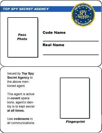 11 Spy Id Card Template In 2021 Spy Party Secret Agent Party Detective Party