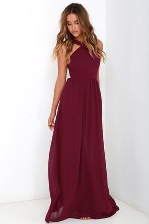 bcba1745925 Air of Romance Burgundy Maxi Dress
