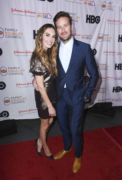 Elizabeth Chambers and Armie Hammer attend Family Equality Council's Impact Awards at The Globe Theatre.