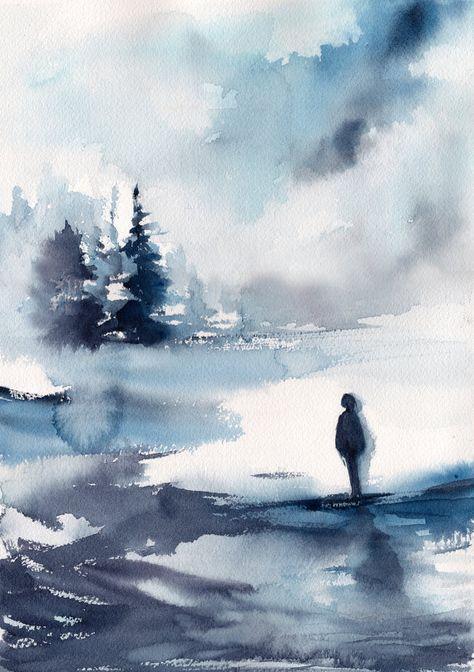 Montagne Et Neige Aquarelle Rituelaquarelle Watercolor Art
