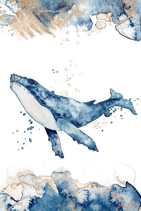 Watercolor whale #whale #watercolor #art #painting #illustration #clipart #blue