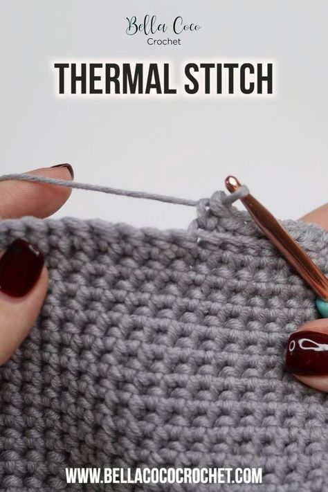 This video will teach you how to crochet the Thermal Stitch for both right and left handed crocheters. You will also find the written instructions at www.bellacococrochet.com #crochet #moderncrochet #crochettutorial