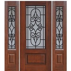 1 Panel 3 4 Lite Salento 1 2 Walnut Doors Fiberglass Entry Doors Doors