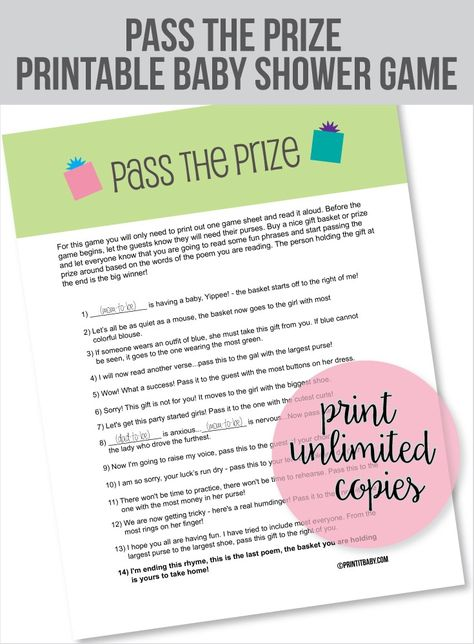 Pass The Prize Baby Shower Game Gift Baby Shower Planner
