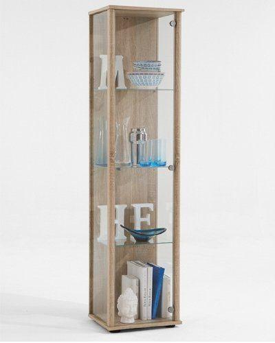 Fmd Glass Display Cabinet Bora 1 42 0 X 171 0 X 36 0 Cm Oak Glass Cabinets Display Display Cabinet Living Room Glass Cabinet