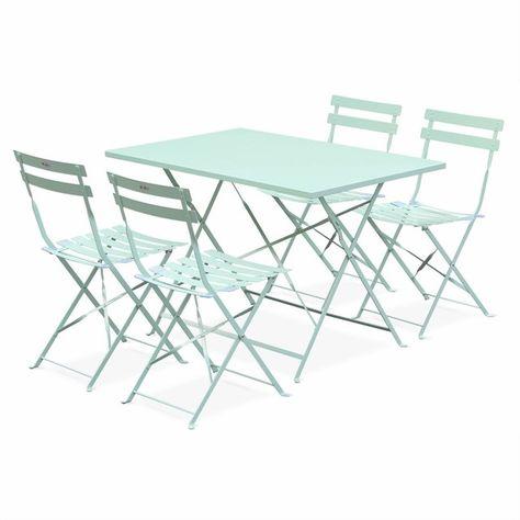 Salon de jardin bistrot pliable Emilia rectangulaire vert d ...