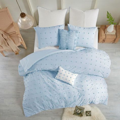 Photo of Brooklyn Cotton Jacquard 7 Piece Comforter Set, Blue, Full/Queen