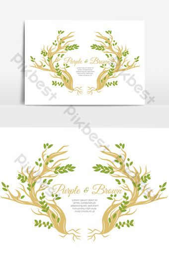 Vintage Han Drawn Wedding Invitation Template With Deer Antler Png Images Psd Free Download Pikbest Wedding Invitation Templates Invitation Template Invitation Card Format