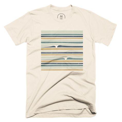 Round Neck T-Shirt,Mosaic Sea Waves Inspired Fashion Personality Customization