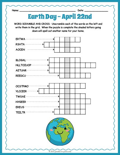 photograph about Earth Day Word Search Printable named Free of charge Printable Entire world Working day Term Scramble and Crossword Grownup