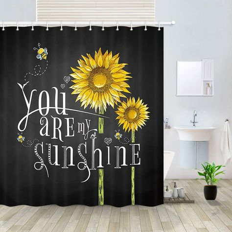Dynh Country Sunflower Shower Curtain Rusitc Flowers And