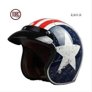 TORC T57 Vintage Retro 3/4 Youth Motocross Helmet with Built-in Visor ECE Certification