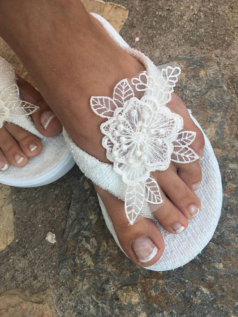 091038f614e4a8 Bridal ivory Flip flops. wedding flip flops ..bride bridesmaids slippers..  wedding slippers lace
