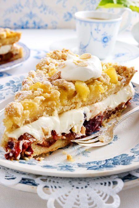 Prassel Bauerntorte Mit Apfel Und Pflaumenkompott Rezept Lecker Rezept In 2020 Kuchen Kuchen Und Torten Rezepte Kuchen Und Torten