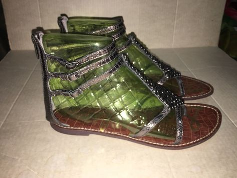 3670a7f8c19f 39.00 ❤ Sam Edelman Ginger Sandal Gladiator Shoe Beaded Strap Silver Pewter  Snake 9.5 ❤