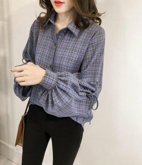 Loose Fit Bell Sleeves Plaid Shirt - S / Blue