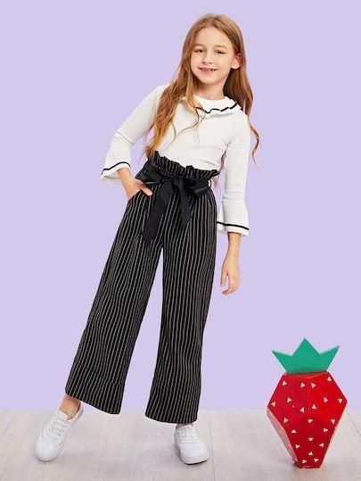 Pantalones De Ninas De Rayas Verticales Con Cinturon Ropa Linda Para Ninas Ropa Para Ninas Fashion Moda De Ropa