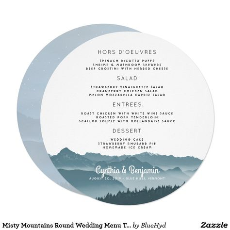 Mountain Wedding Menu Template In Round Or Square Shape Misty Blue Gray Mountains Design With Four Sections To Fill Items