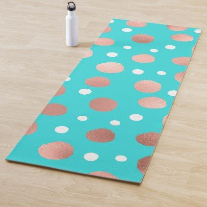 Modern Artsy Rose Gold Teal Polka Dots Yoga Mat Yogamats Yoga Blue Polka Dots Artsy Custom Yoga Mat
