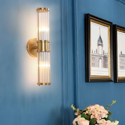 Simple Style Gold Wall Light Tube Shape 1 2 Heads Metal Clear Crystal Sconce Lamp For Living Room In 2020 Gold Wall Lights Lamps Living Room Wall Lights