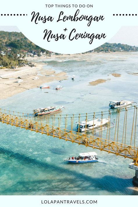 The Nusa Islands are just 25 minutes off the mainland of Bali and there are plenty of things to do on Nusa Lembongan and Nusa Ceningan. There are three islands that make up the Nusa district. However, Nusa Lembongan and Ceningan are actually connected via a yellow bridge. #nusalembongan #nusaceningan #nusapenida #bali #indonesia #travelguide