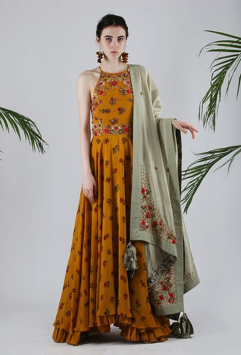Lilly Special Edition Chintz Printed Crepe Kalidar In Ochre With Organza Embriodered Yoke And Cotton Churidhar In Ochre. Chanderi Dupatta With Kundan Flowers And Organza Embroidered Bookends In Jade.