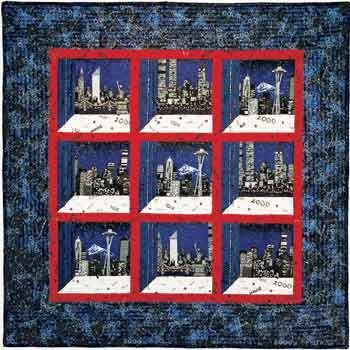 """~free pattern ~ Window to the Millennium, 37 x 37"""",   by Ellen Osten for Sulky.  Attic windows with red sashing."""