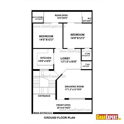 House Plan For 28 Feet By 48 Feet Plot Plot Size 149 Square Yards Gharexpert Com House Map Home Map Design House Plans