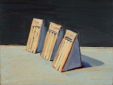 """More Humans selected Wayne Thiebaud's """"Three Sandwiches"""" to accompany their Luce Unplugged performance on 5/31/13. """"We love the weird simplicity and elegance of this painting. It is simultaneously straight-forward and alienating; boring and gripping; forgettable and astonishing. This painting embodies something that we continually strive for in our music: setting up the battle between the comfort of melody and structure  and the sense of being pushed off-balance..."""""""