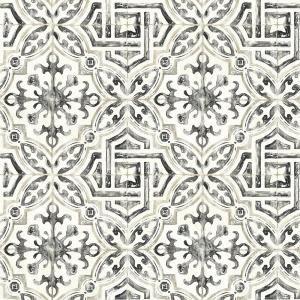Chesapeake 56 4 Sq Ft Sonoma Black Spanish Tile Wallpaper 3117 12331 Tile Wallpaper Spanish Tile Geometric Wallpaper