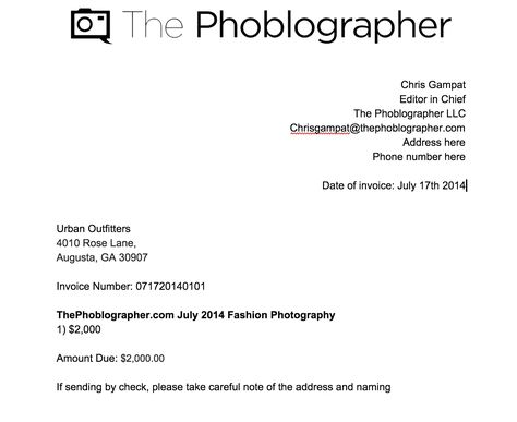 How to Send an Ivoice for Your Photography Fumbling through - sample photography invoice