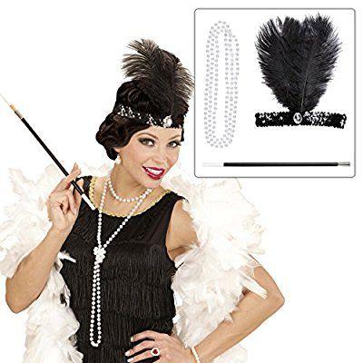 Kostüm Set Charleston 20er 30er mit Kopfschmuck Halskette Zigarettenspitze Mode