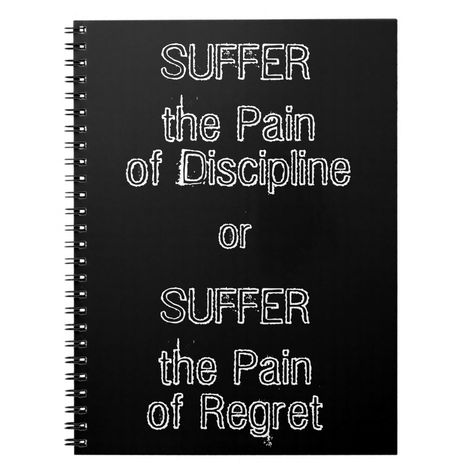 """Do you love inspirational quotes? Are you looking to stay motivated on your health and fitness journey? If so then this funky, black """"Suffer the Pain of Discipline or Suffer the Pain of Regret"""" motivational quotes notebook is perfect for you. This motivational quote is ideal for those who are into weightlifting, exercise, fitness, or for those who are on a dieting journey. A great way to stay motivated on your diet or fitness regime."""