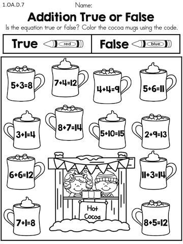 Addition True Or False Part Of The Winter 1st Grade Math Worksheets Packet Common Core First Grade Math Worksheets Winter Math Worksheets 1st Grade Math 1st grade math worksheets packet