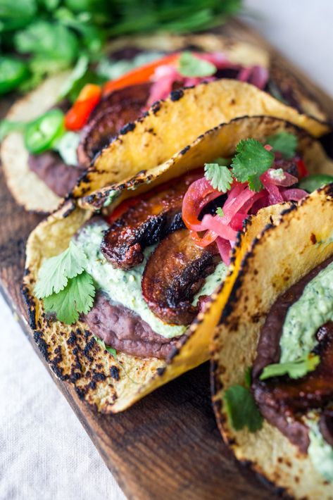 """recipes healthy eating Sheet Pan Portobello Tacos with Chipotle Sheet-Pan, Chipotle Portobello Tacos - smoky, spicy and """"meaty"""" - these VEGAN tacos are sure to satisfy even the most diehard meat-lovers! Make them in 30 minutes! Vegan Foods, Vegan Recipes, Cooking Recipes, Cooking Tips, Rib Recipes, Sunday Recipes, Cooking Bacon, Cooking Turkey, Cooking Games"""