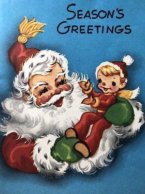 Vintage 1950s Unused Christmas Greeting Card Santa Claus Elf And Xmas Tree Vintage Christmas Cards Vintage Christmas Greeting Cards Christmas Card Images