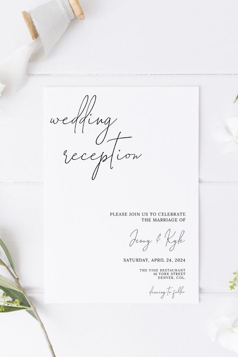 Invite your friends  family to your evening reception party with this minimalist invitation template. Includes an RSVP  details card. Try before you buy! Click the link to try out the FREE demo! #minimalistwedding #modernwedding #weddingreception #eveningreception #weddingreceptioninvitation #weddinginvitation