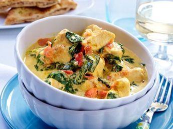 Unser beliebtes Rezept für Hähnchen-Kokos-Curry mit Spinat und mehr