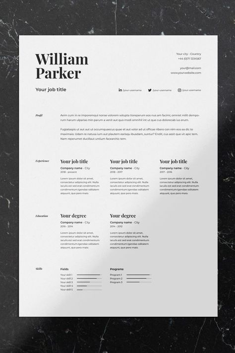 CV / Resume template with cover letter for Word, Indesign & Photoshop Graphic Design Cv, Cv Design, Book Design, Cv Photoshop, Photoshop Program, Resume Design Template, Resume Templates, Indesign Free, Cv Inspiration