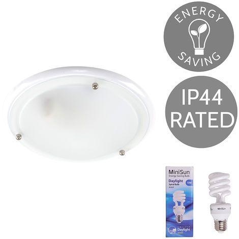 Ip44 Glass Flush Bathroom Ceiling Light 13w Es E27 Bulb Gloss White 03859 Ceiling Lights Bathroom Ceiling Light Bathroom Ceiling